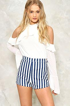 Striped Denim Hotpant
