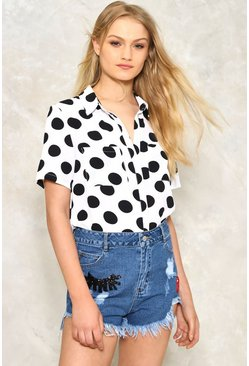 Dot in the Act Short Sleeve Blouse