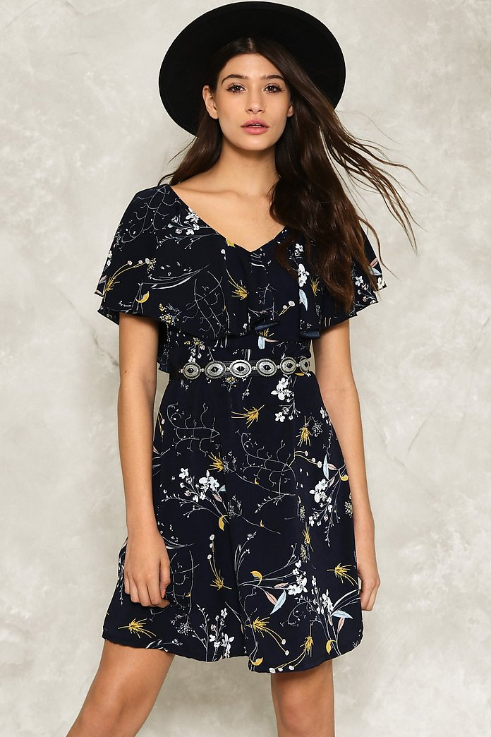 Angel Sleeve Floral Skater Dress