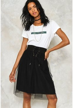 Lace Up Waist Tulle Skirt