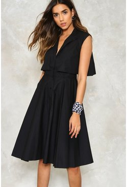 Sleeveless Button Through Cape Dress