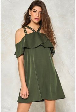 Strap Me Down Cold Shoulder Dress