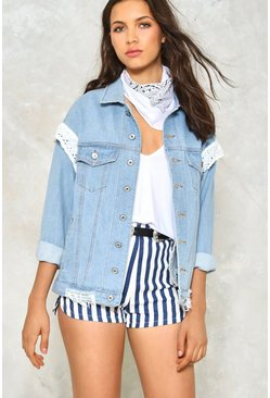 Broderie Trim Oversized Denim Jacket