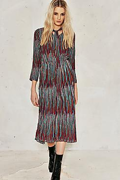 Millie Textured Multi Stripe Tie Neck Midi Dress
