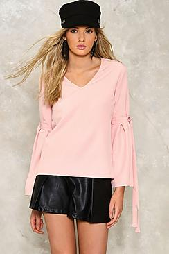 Tie Sleeve V Neck Blouse