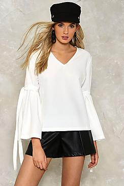 Summer Tie Uncle Sleeve V Neck Blouse