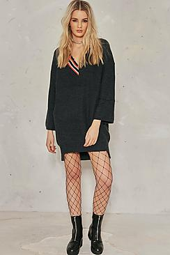 Alice Distressed Knitted Crochet Jumper Dress