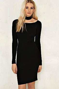 Caroline Knitted Choker Bodycon Dress