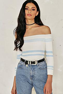 Avery Knitted Rib Stripe Bardot Jumper