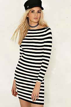 Mila Striped Knitted Boat Neck Bodycon Dress