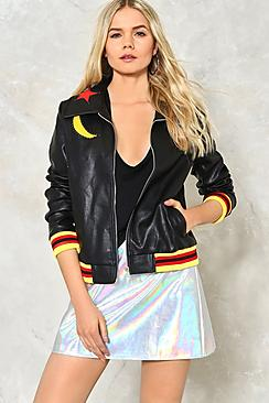 Eva Star & Moon Rib Trim Faux Leather Jacket