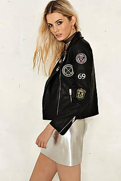 Lucie Badge Detail Faux Leather Biker Jacket