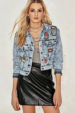 Kayla Bleached Embellished Crop Denim Jacket