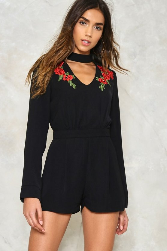 Rose to the Occasion Embroidered Romper
