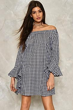 Gingham Frill Sleeve Bardot Dress