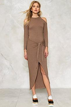 Ava Cold Shoulder Ribbed Tie Front Maxi Dress