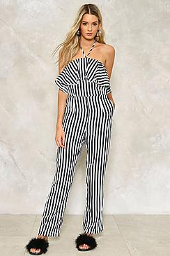 Tie Neck Bardot Striped Jumpsuit
