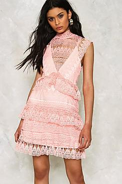 Crochet Lace High Neck Tiered Dress