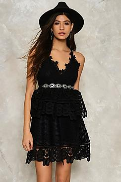 Crochet Lace Strappy Tiered Dress