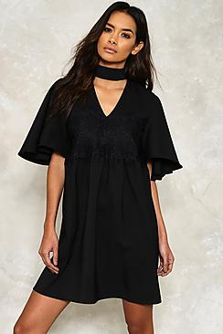 Ava Angel Sleeve Crochet Panel Choker Dress