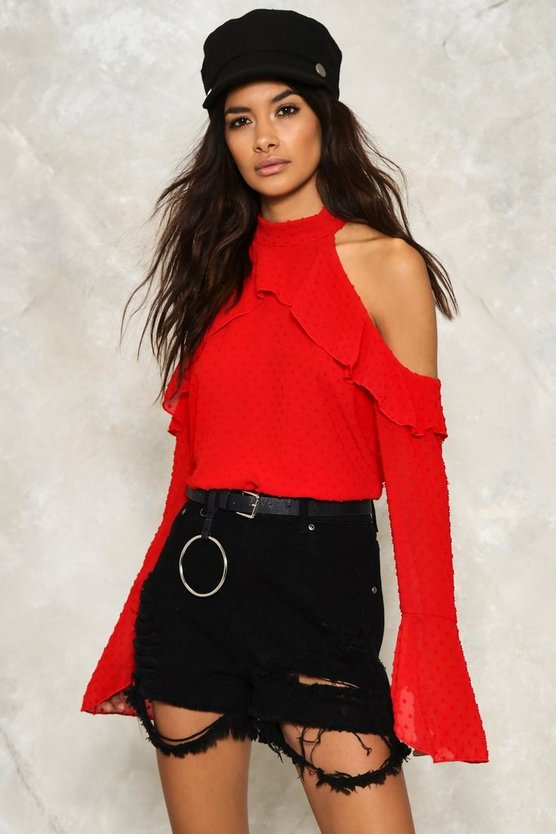 Deb Cold Shoulder Ruffle Blouse