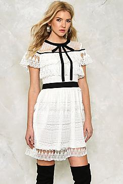 Tie Neck Ruffle Crochet Lace Dress