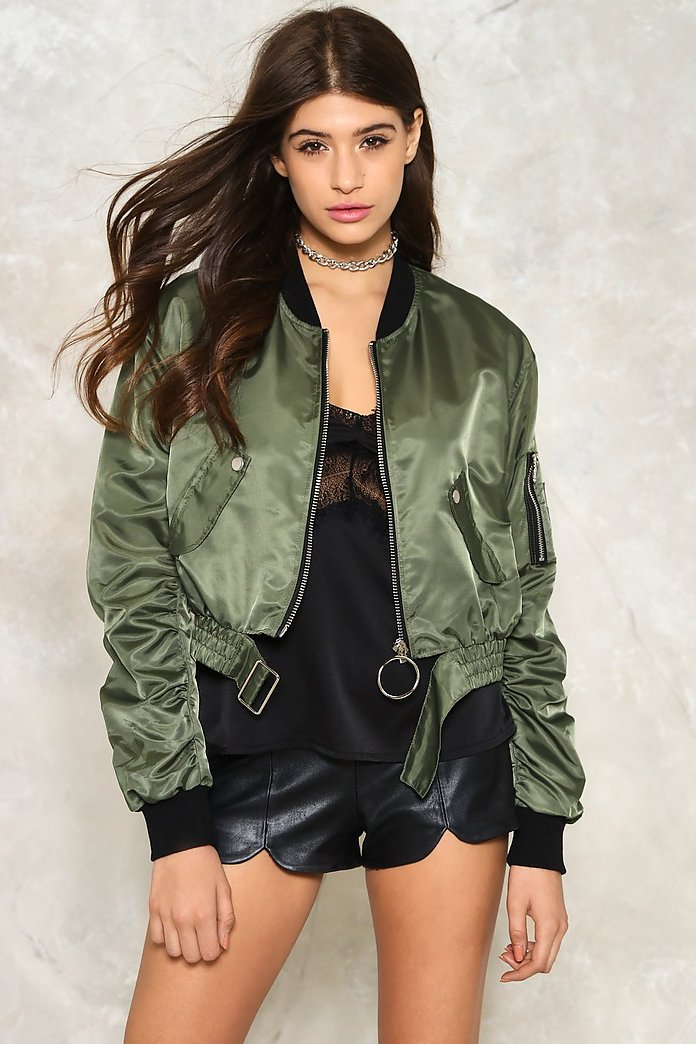All Revved Up Satin Bomber Jacket