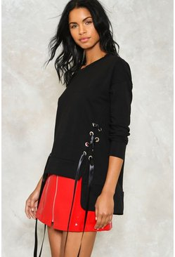 Step Back Lace-Up Sweatshirt