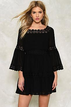 Crochet Trim Flared Sleeve Dress