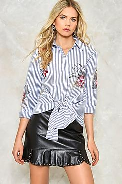 Heather Embroidered Striped Tie Front Shirt