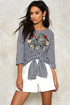 Embroidered Gingham Tie Front Top