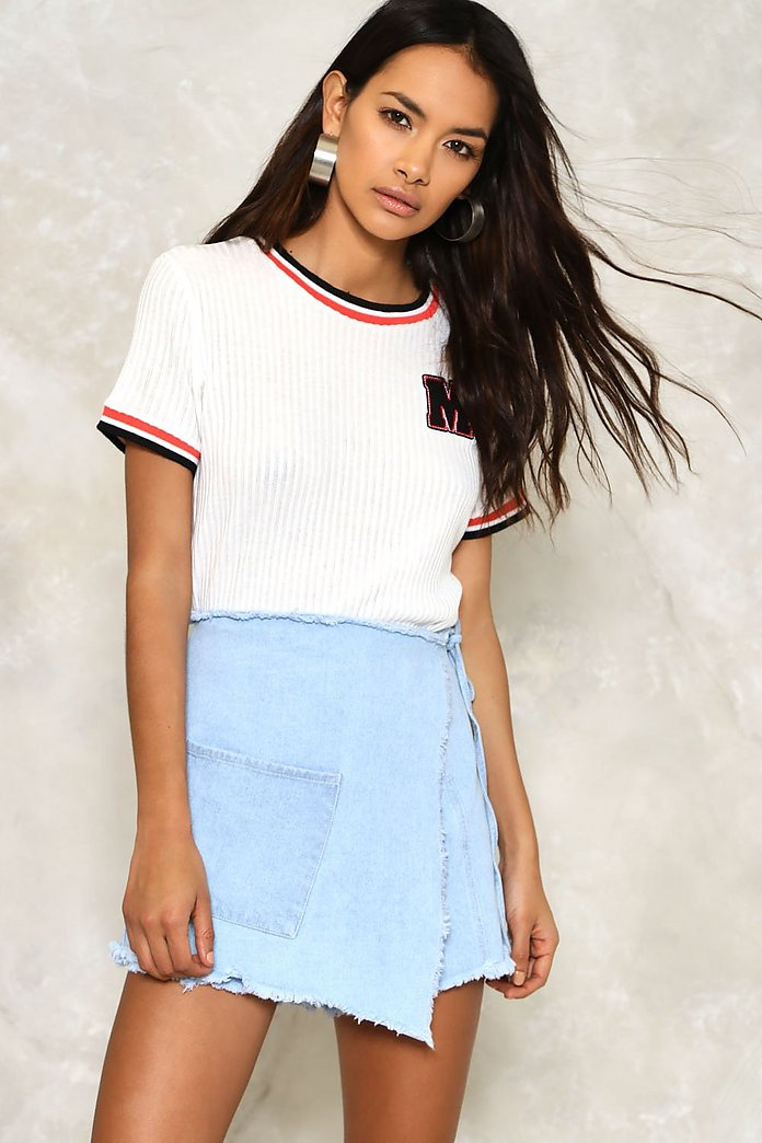 Fray the Course Denim Skort