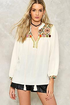 Poppy Pom Pom Embellished Blouse