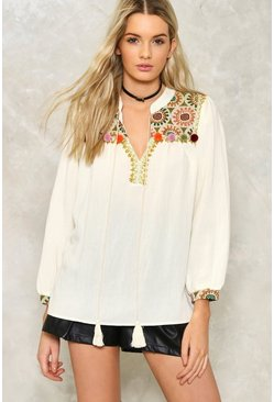 Pom Dot Com Embroidered Top