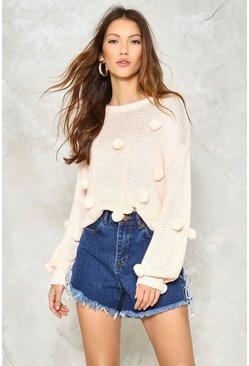 Pom Before the Storm Embellished Sweater