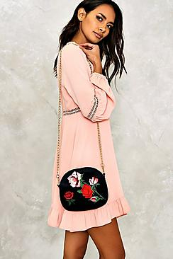Louise Embroidered Velvet Chain Detail Bag