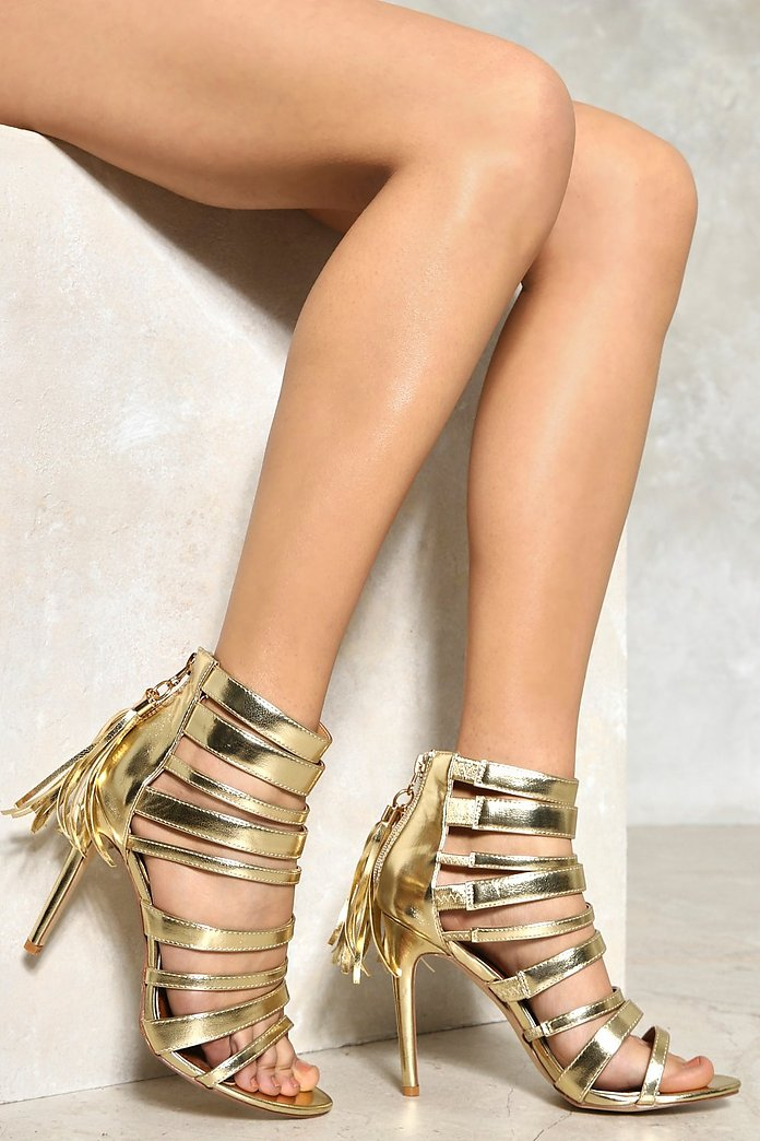 Metallic Cage Strappy Heels