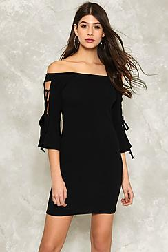 Lace Up Sleeve Bardot Dress