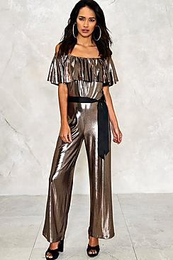 Holly Bardot Ruffle Metallic Jumpsuit