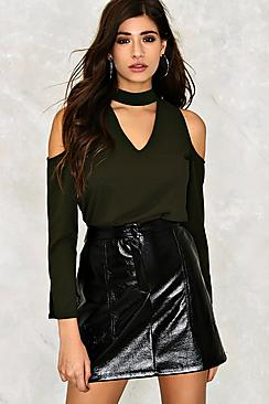 Cold Shoulder Choker Blouse