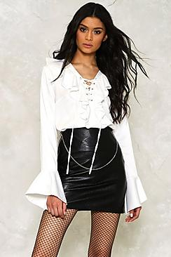 Lace Up Ruffle Sleeve Blouse