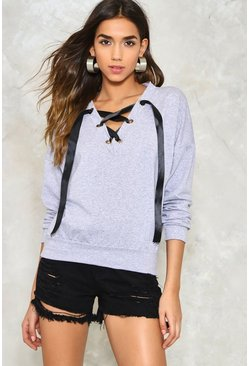 Not Just a Pretty Lace-Up Sweatshirt