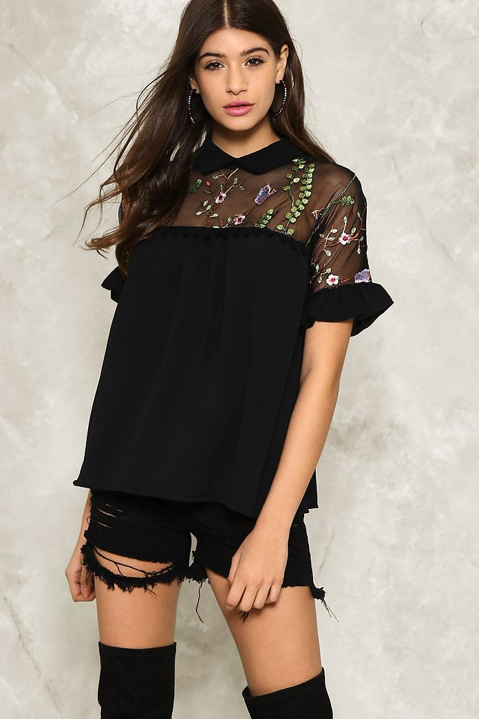 Floral It's Worth Embroidered Blouse