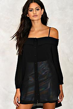 Sheer Cold Shoulder Longline Shirt