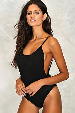 Kara Built In Bra Ribbed Scoop Back Bodysuit