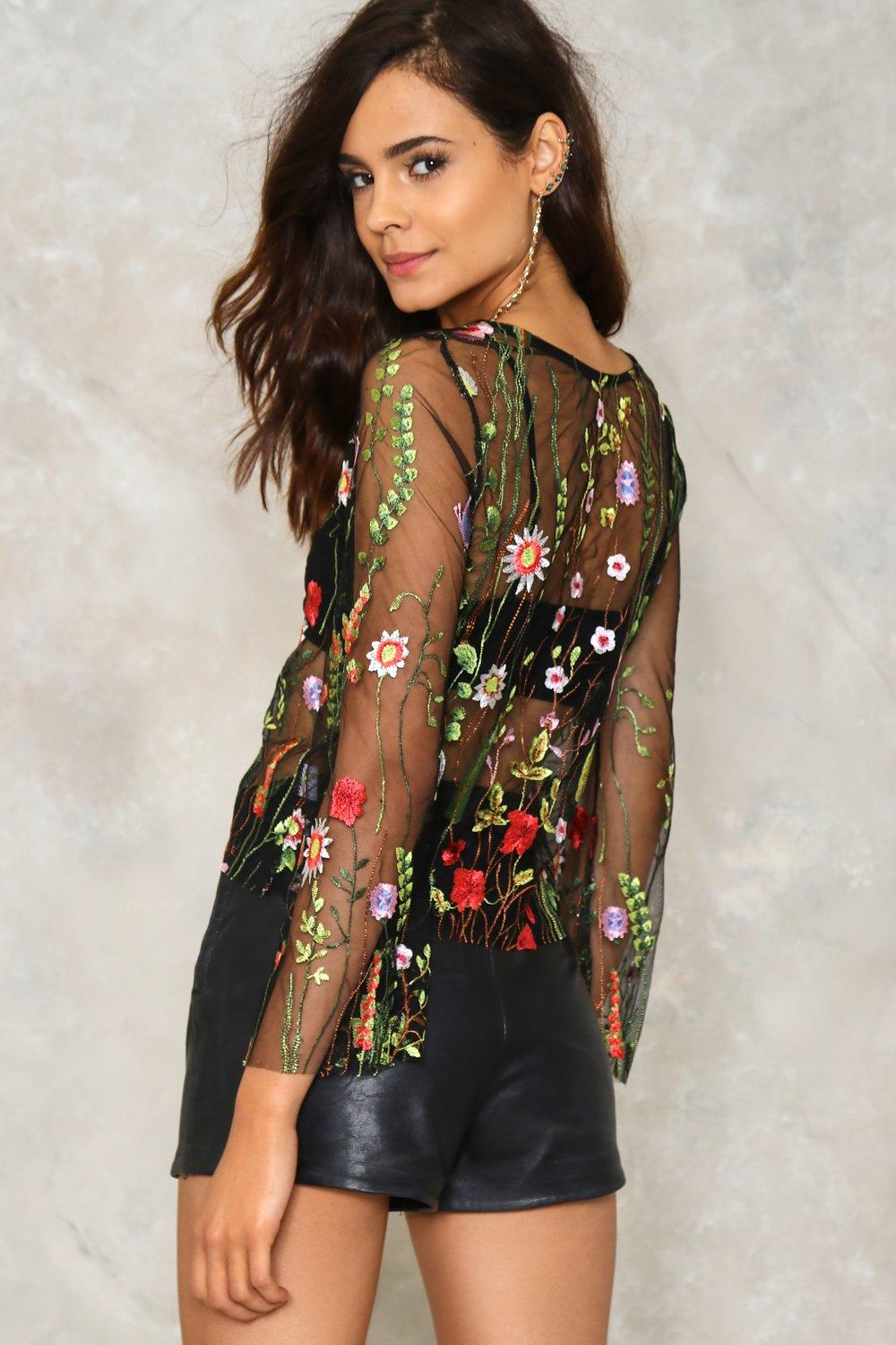 Elsa Embroidered Mesh Top