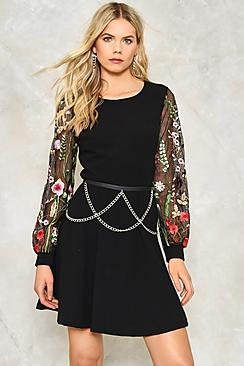 Emily Embroidered Mesh Sleeve Skater Dress