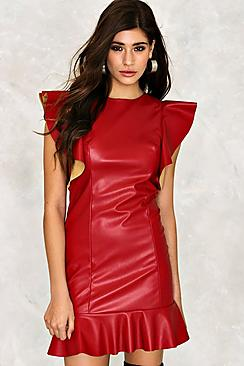 Olivia Ruffle Sleeve Faux Leather Dress