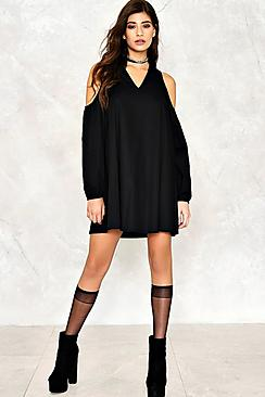 Lara Cold Shoulder V Neck Cotton Dress