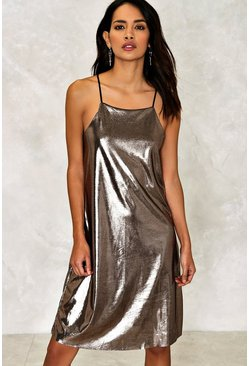 Bria Metallic Slip Dress